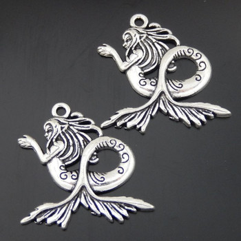 10pcs Antique Silver Tone Alloy Mermaid Charms Pendant Jewelry Making 29*28*3mm 50472