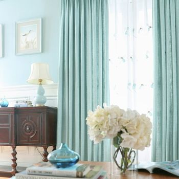 Modern Solid Elegant and Soft Linen Window Curtains for Living Room Six Colors Drapes Curtain Custom Made Size