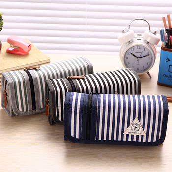 Multifunctional Canvas Navy Style Stripe Pen Pencil Case Organizer School Boys and Girls